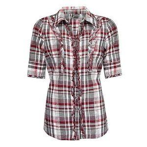 BKE Buckle Ruffle Plaid Button-Up Shirt